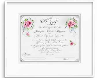MARRIAGE CERTIFICATE PRINTABLE Custom  Wedding Certificate Personalized Certificate Calligraphy 2018
