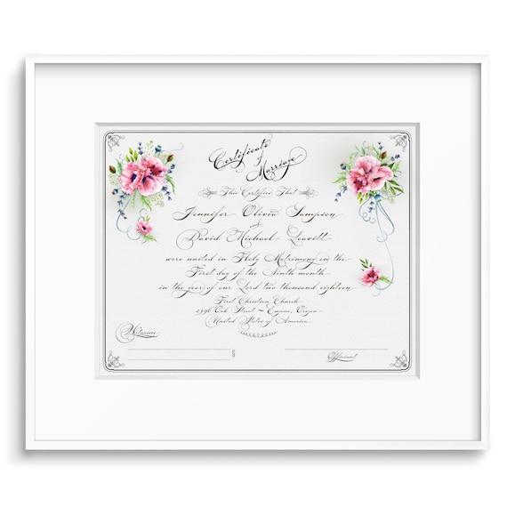 MARRIAGE CERTIFICATE PRINTABLE Custom Wedding Certificate | Etsy