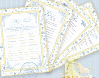 TOILE BABY SHOWER Game Blue Bundle Baby Animals What's In Your Purse Name Race How Sweet It Is Blue Printable Instant Download Digital 1071
