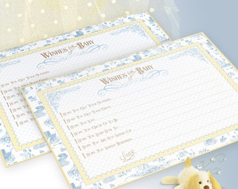 WISHES FOR BABY Blue Toile Baby Shower Blue Yellow Instant Download Baby Boy Shower Games 1071
