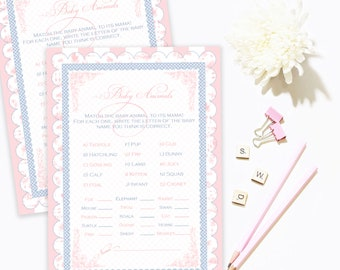 TOILE BABY SHOWER Game Baby Animals Who's My Mommy Animal Name Party Game Name That Baby Pink Printable Instant Download Digital 1072