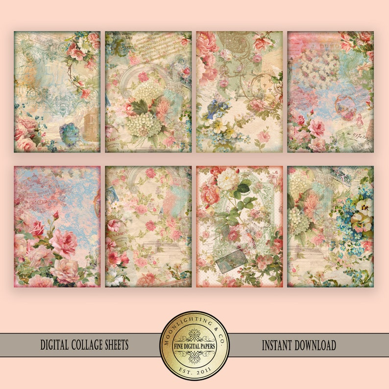 image regarding Vintage Printable called ATC Victorian Shabby Stylish traditional printable collage sheet labels cling tag clip artwork Sbooking Electronic Playing cards Printable Obtain Tags 512a