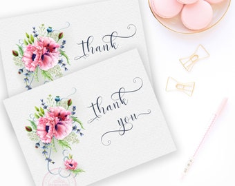 BRIDAL THANK YOU Cards Wedding Thank You Bridal Shower Printable Instant Download File Pink Poppies Flowers 2018