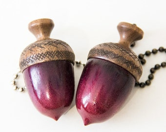 Purpleheart Wooden Acorn Fan Pulls (2 Pulls)