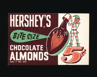 Original Vintage Hershey's Bite Size Chocolate Almonds Vending Machine Header Card - 1960's Vending Machine Topper