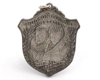 New York to Albany Antique 1909 Hudson-Fulton Celebration Medal Shield Shaped Medallion Pendant