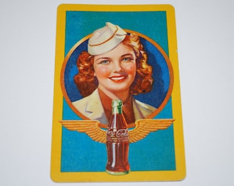 Vintage WWII Era Coca Cola Playing Cards - Flight Stewardess - Complete Deck of 52 Cards - Bridge Size Playing Cards
