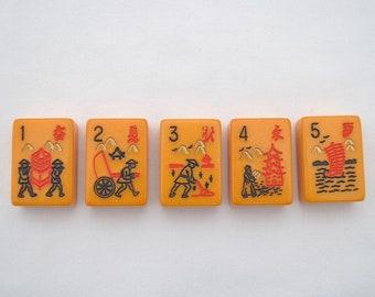 Lot of 5 Vintage 1950's era Bakelite Mahjong Tiles - Occupation Tiles - Butterscotch Bakelite - Jewelry Making - Game Pieces