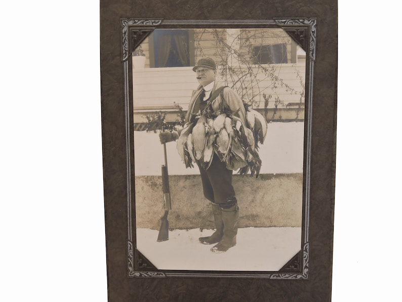 Sepia Tone Photo in Studio Folder Antique 1910/'s Duck Hunter Photograph Man Posing with Gun and Ducks