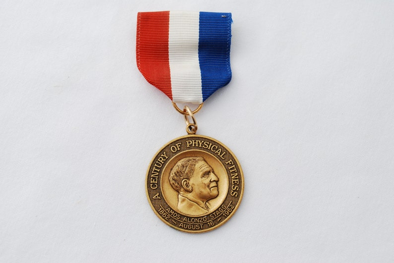Red White and Blue Ribbon Vintage Century of Physical Fitness Amos Alonzo Stagg Medal Gold Tone Metal