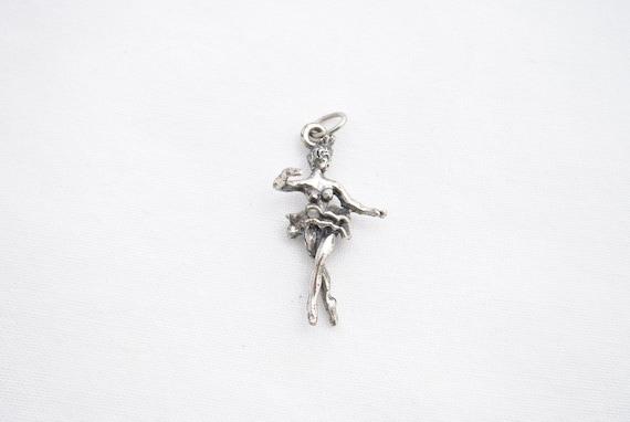 Vintage Ballerina Enameled TuTu Charm or Pendant in Sterling #BKB-CHRM199