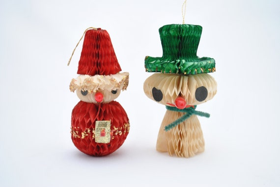 Vintage Paper Honeycomb Santa And Snowman Christmas Ornaments Glitter And Chenille Accents 1950 S 1960 S