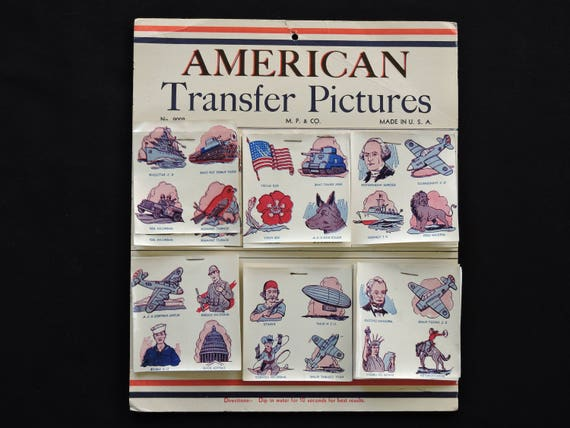 Original Vintage AMERICAN TRANSFER PICTURES Tattoo Decals Store Display 1940s