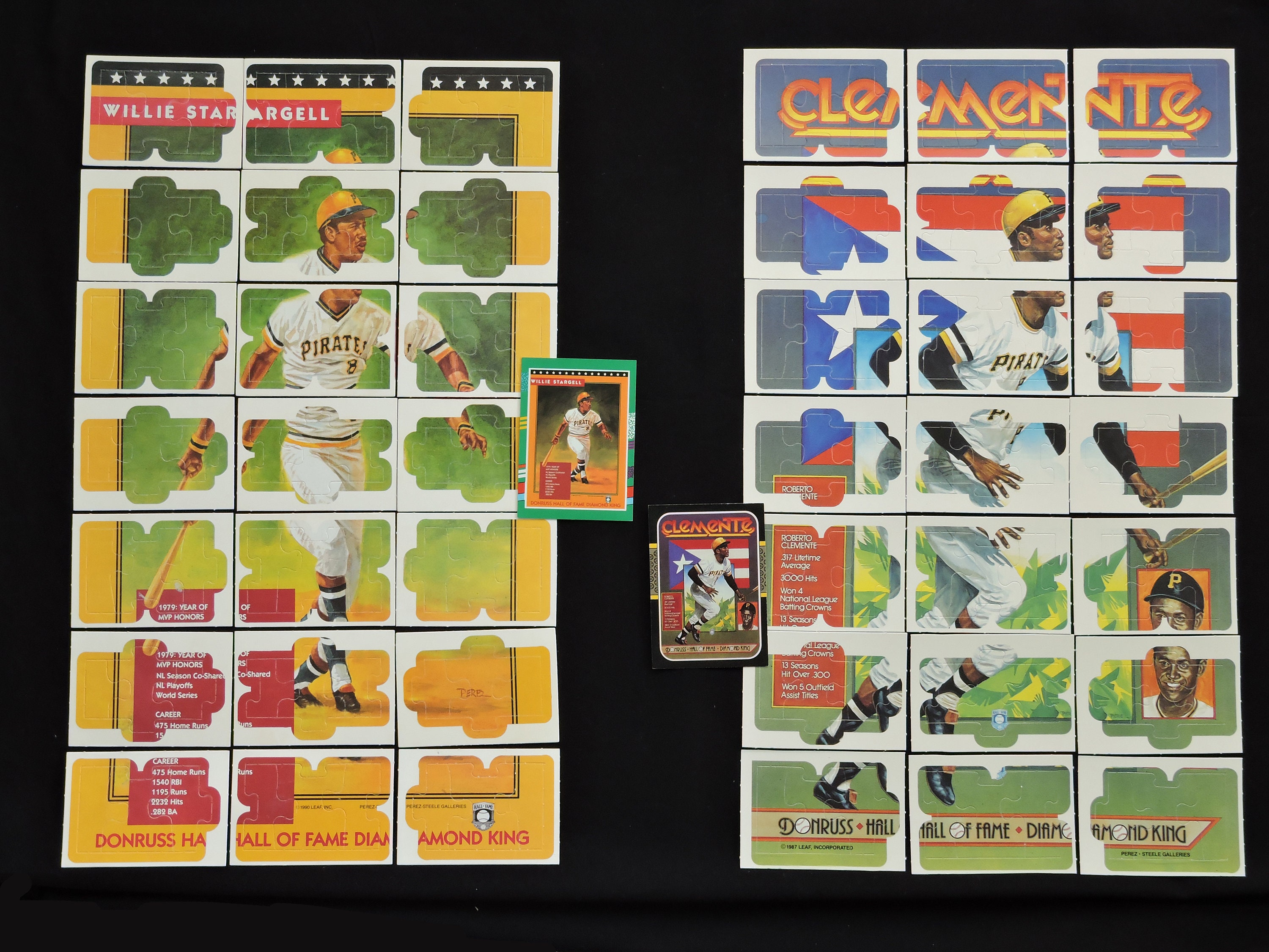 Vintage Roberto Clemente Willie Stargell Complete Baseball Puzzles 1980s 1990s Donruss Baseball Cards Puzzle Sets Pittsburgh Pirates