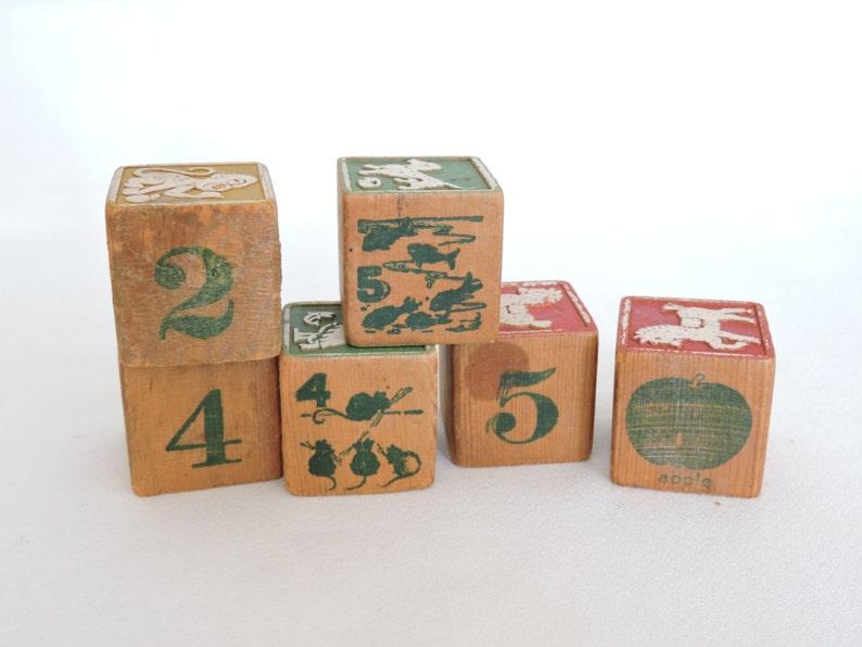 Animals Lot of 6 Antique Embossed Wood Children/'s Blocks