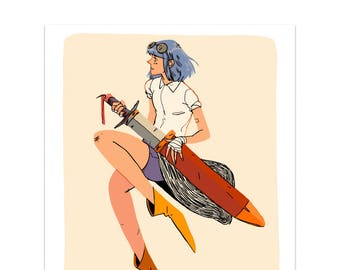Sword Girl Print