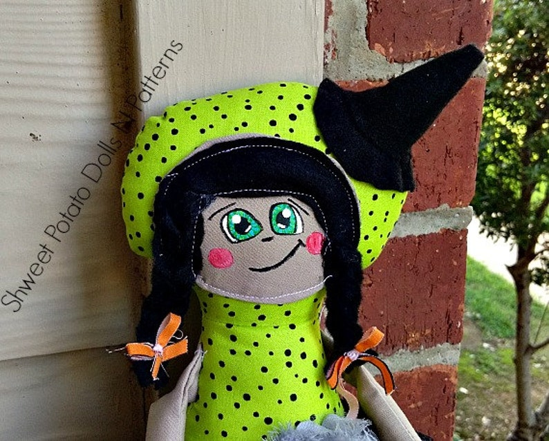 Whimsical Primitive Witch Art Doll Halloween  Cloth Doll image 0