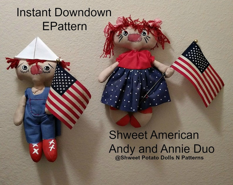 Shweet Americana Duo Annie Andy Digital Instant Sewing image 0