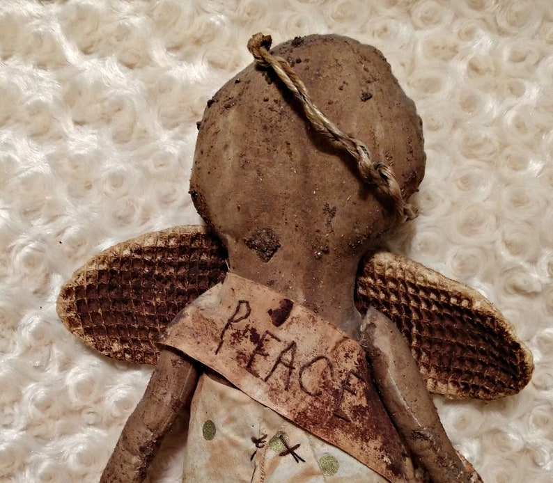 Handmade Extreme Primitive Angle Peace Doll  Tree Topper Art image 0