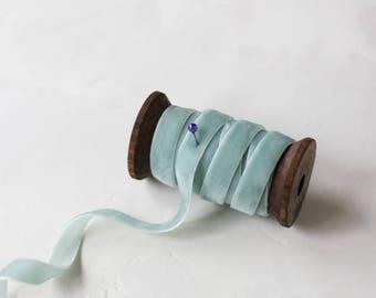 "Seafoam (Blue Green) Velvet Ribbon (with Wooden Spool) - 5 yards - 3/8"" wide"