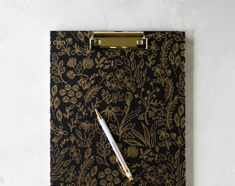 "Black + Gold Foil Floral Clipboard Folio - Opens to Reveal Notepad - 12.5"" x 9.25"""