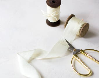 "Ivory Cream Hand-Dyed Silk Ribbon (with Wooden Spool) - 5 yards - 1.25"" wide"