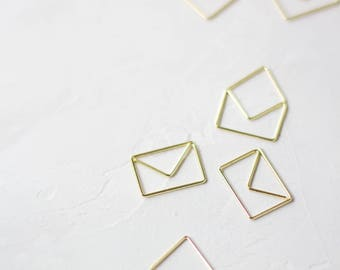 Gold Envelope Small Metal Paper Clips - 6 pc