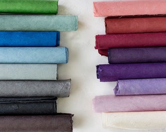 Handmade Wrapping Paper Sheets w/ Deckled Edges • Green / Blue / Gray / Black / Brown / Pink / Red / Purple / Natural