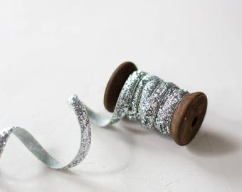 "Silver Glitter Velvet Ribbon (with Wooden Spool) - 4.75 yards - 1/4"" wide"