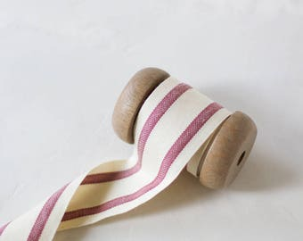 "Burgundy Red + Natural French Stripe Organic Cotton Ribbon (with Wooden Spool) - 5 yards - 1.5"" wide"