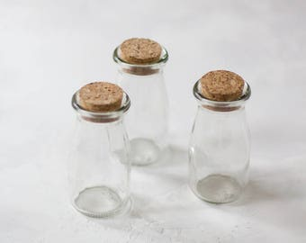 Glass Small Bottles (Jars) with Cork Lids - 3 pc