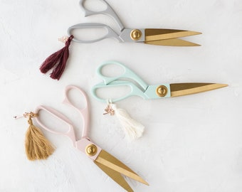 """Pastel Painted Metal Crafting Scissors w/ Gold Details + Tassel + Charm • 7-3/4"""" • Gray Taupe / Mint Green / Blush Pink"""