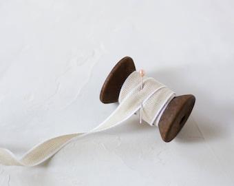 """Taupe + White Edge Italian Drittofilo Cotton Ribbon • 3/8"""""""
