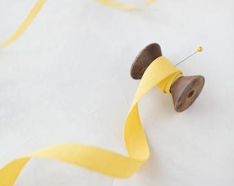 "Lemon Yellow Tight Weave Italian Cotton Ribbon • 1/4"" • 5/8"" • 1-1/2"""