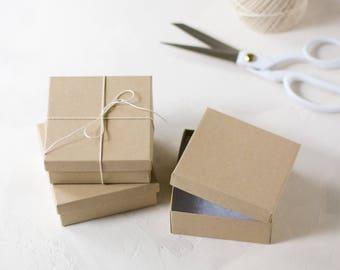 """Kraft Boxes w/ Cotton - 27 pc - 3.5"""" x 3.5"""" x 1.5"""""""