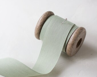 "Sage Green Tight Weave Cotton Ribbon (with Wooden Spool) - 5 yards - 1.5"" wide"