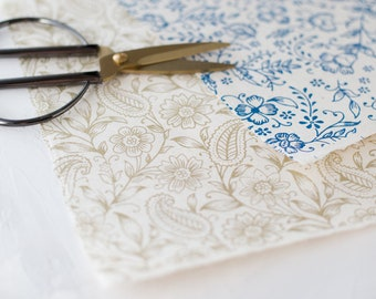 Floral Garden Handmade Wrapping Paper Sheets w/ Deckled Edges • 2 sheets • Matte Blue / Metallic Gold