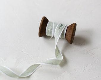 """Sage Green + White Edge Italian Drittofilo Cotton Ribbon • 3/8"""""""