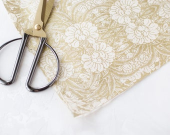 Metallic Gold + Natural Garden Handmade Wrapping Paper Sheets w/ Deckled Edges • 2 sheets