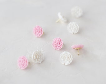 Pink + White Flower Push Pins w/ Gold Tips • 9 pc