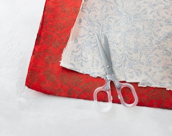 Filigree Handmade Wrapping Paper Sheets w/ Deckled Edges • 2 sheets • Silver Metallic on Natural / Golden Bronze Metallic on Red