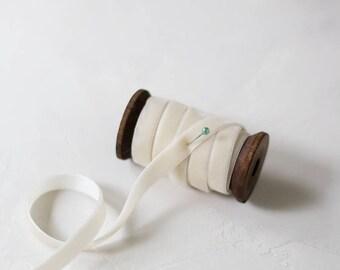 """Ivory Cream Velvet Ribbon • 1/4"""" • 3/8"""" • 3/4"""""""