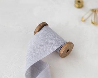 """Lavender Gray Crinkle Chiffon Ribbon • 2"""""""