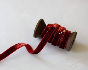 "Red Glitter Velvet Ribbon (with Wooden Spool) - 5 yards - 3/8"" wide"