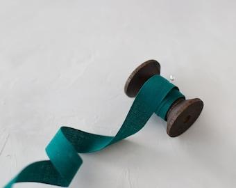 "Winter Spruce Jade Green Tight Weave Italian Cotton Ribbon • 1/4"" • 5/8"""