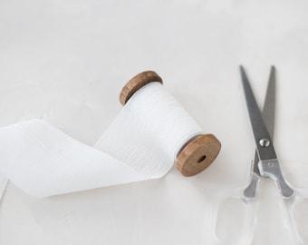 """White Crinkle Chiffon Ribbon • 2"""""""