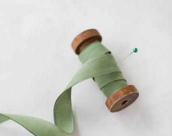 "Spring Sage Green Variegated Hand-Dyed Cotton Ribbon • 5/8"""