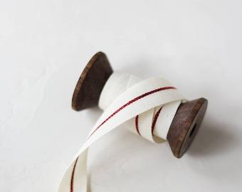 "Natural + Red Metallic Stripe Italian Cotton Ribbon • 1/4"" • 5/8"""