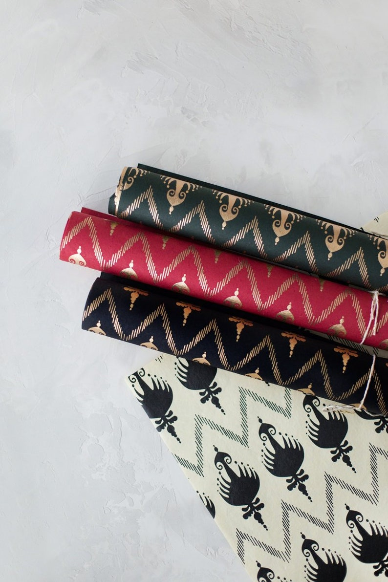 Ikat Handmade Recycled Cotton Wrapping Paper w/ Gold Metallic image 0