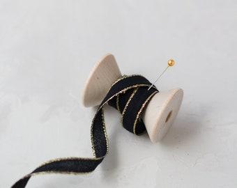 """Black + Gold Metallic Edge Italian Drittofilo Cotton Ribbon • 3/8"""""""